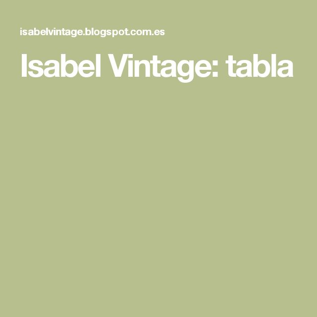 Isabel Vintage: tabla