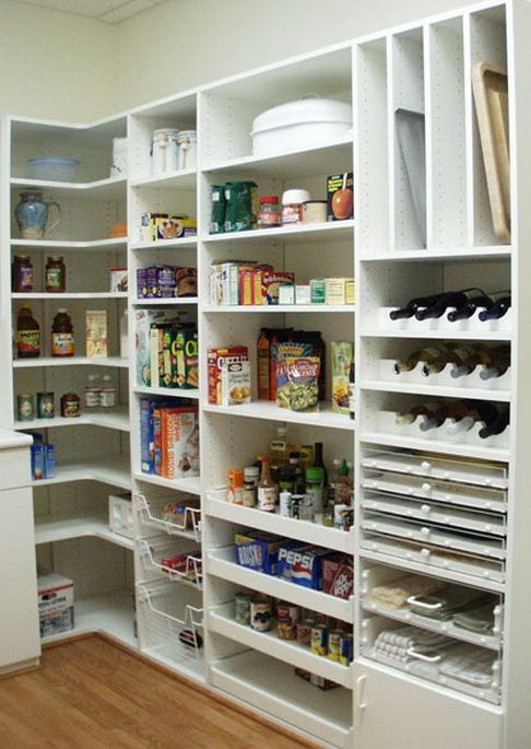 I like the top area to slide platters and cookie sheets, I like an area to organize Tupperware, Pyrex, and large boxes and pails- eg garbage bags and protein whey and dog food. Area for wine too and one for cans.