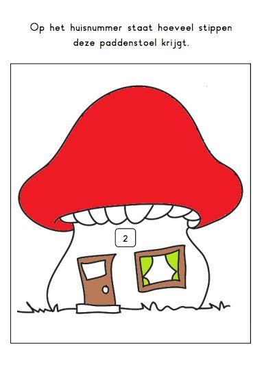 Print de padenstoelen, elk huisnummer geeft aan hoeveel stippen de kinderen op het paddenstoeltje kunnen tekenen.
