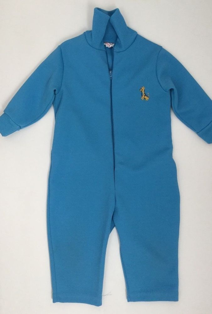 Vtg 60s 70s Sears Baby Romper 12-18M Sky Blue Jumper Track Suit Giraffe Decal #Sears #TrackSuit #Everyday