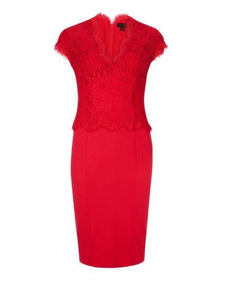 Lace bodice dress - Light Red | Dresses | Ted Baker UK