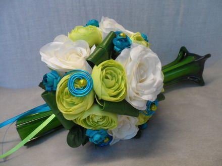 """Bouquet de mariée rond - anis créme et turquoise -""""Heïdi"""" - Mariage : Autres accessoires par sophialaura"""