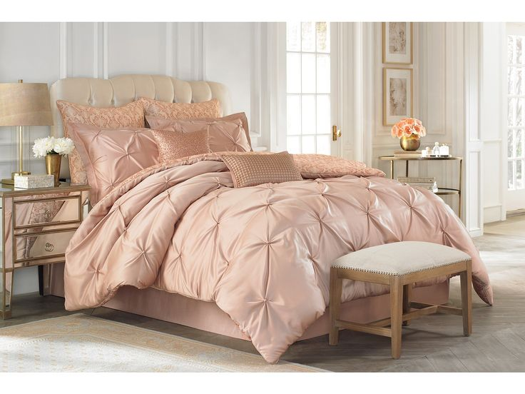 Vince Camuto Rose Gold Comforter Set - great for a girly bed, but I wouldn't make my husband sleep on PINK!  Pretty as it may be.