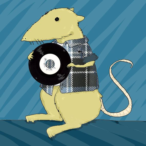 Mouse with vinyl illustration square postcard with envelope made for record store day by tostoini #italiasmartteam #etsy
