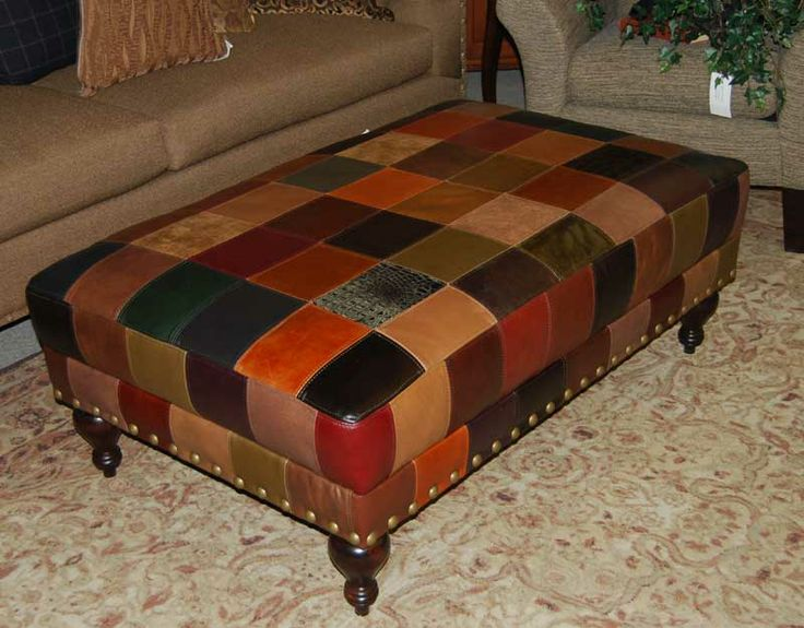 Patchwork Leather Ottoman Designer Patchwork Leather