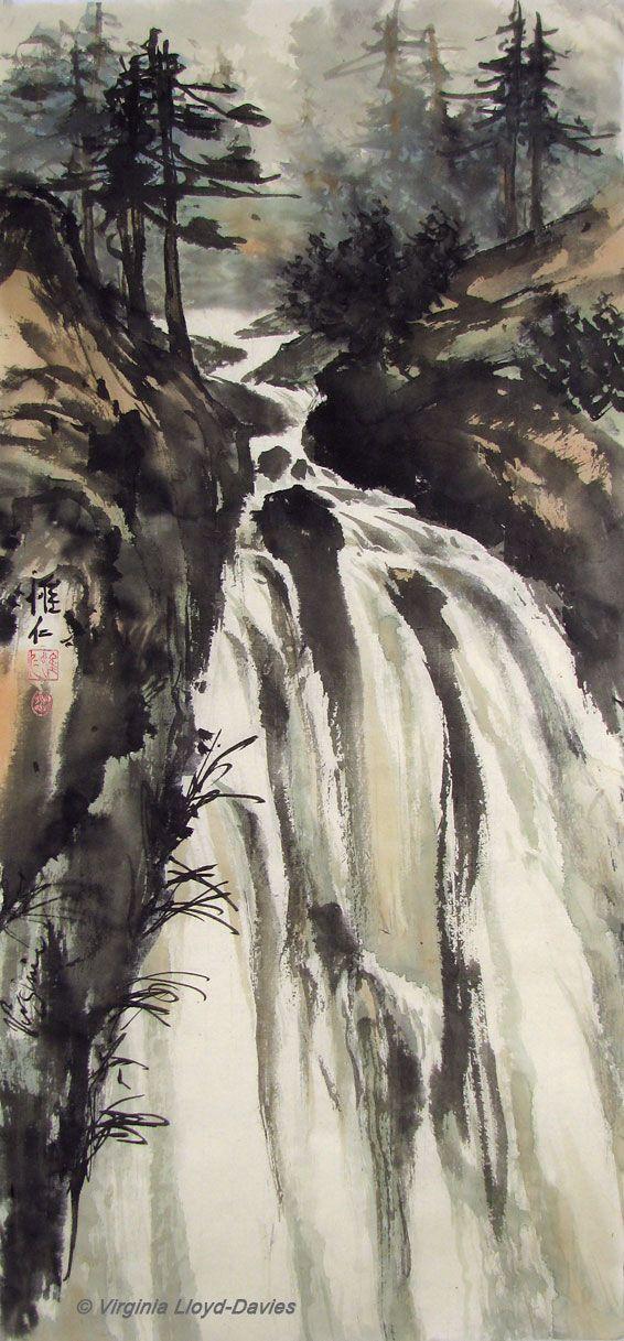 Chinese brush painting of waterfall and pines