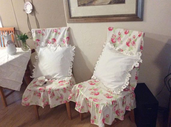 Pull these on and dress your chair up ! Very shabby chic ! One of a kind ! Add a beautiful pillow and they become the vocal point of your home ! Listing is for ..... 1 Chair cover Seat 18x18. Back. 23x18 Lula rose print (Tanya whelan ) 100% cotton Regular wash/tumble dry (Pillow is