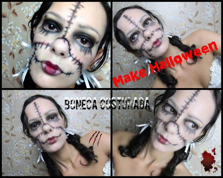 Maquiagem Halloween - BONECA COSTURADA   Luciana Queiróz