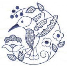 ZDBJJ377-1 Jacobean Hummingbirds Redwork-Single