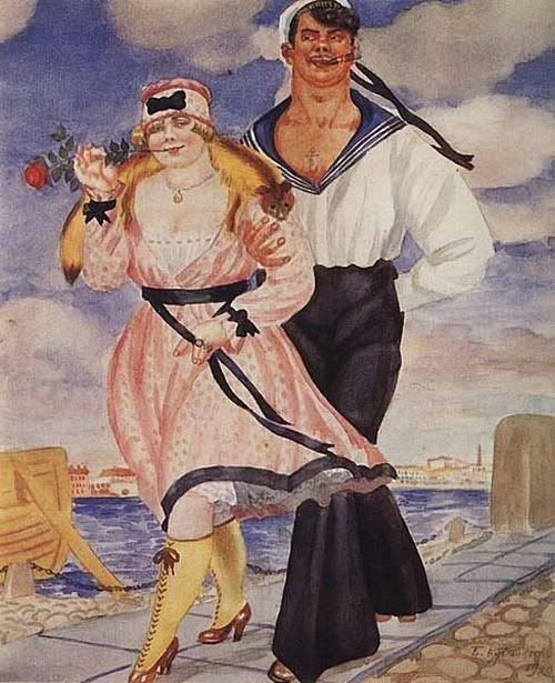 "Борис Кустодиев ""Матрос и Милая"" 1920 г."