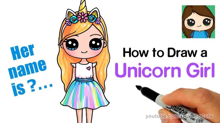 How to Draw a Unicorn Cute Girl Easy - YouTube | Crafts ...