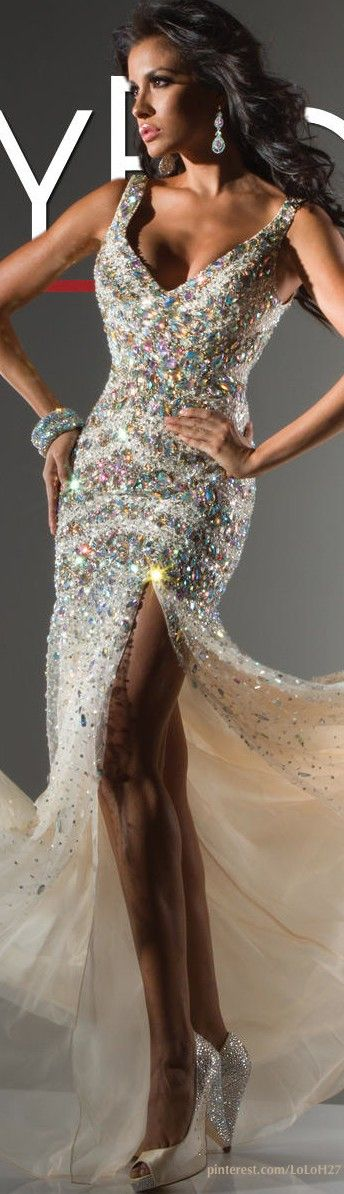 Tony Bowls Collection - Glamorous Crystal Encrusted Gown With Sheer Champagne Skirting -ShazB