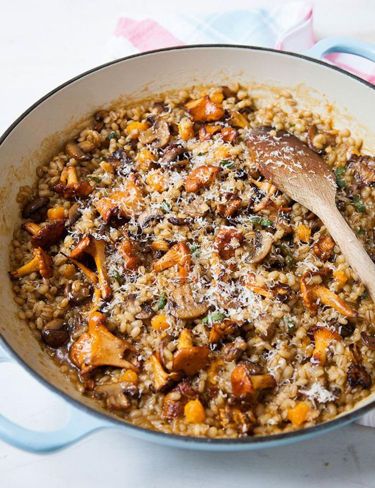 Barley Risotto with Mushrooms and Butternut Squash