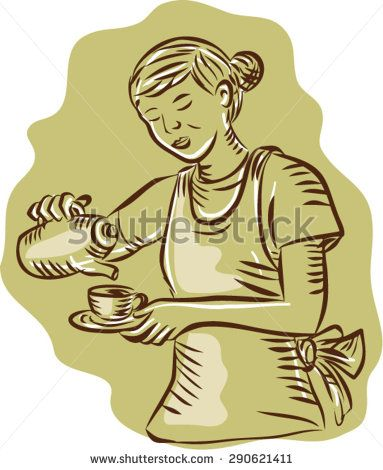 Etching engraving handmade style illustration of a waitress holding teapot and cup pouring tea vintage style on isolated background.  - stock vector #mother #sketch #illustration