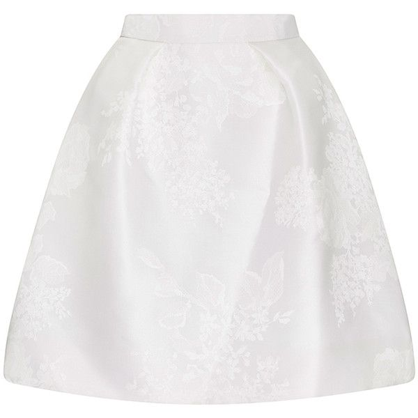 Monique Lhuillier Lea Skirt (6.315 RON) ❤ liked on Polyvore featuring skirts, high-waisted skirts, white skirt, high rise skirts, white high waisted skirt and white knee length skirt