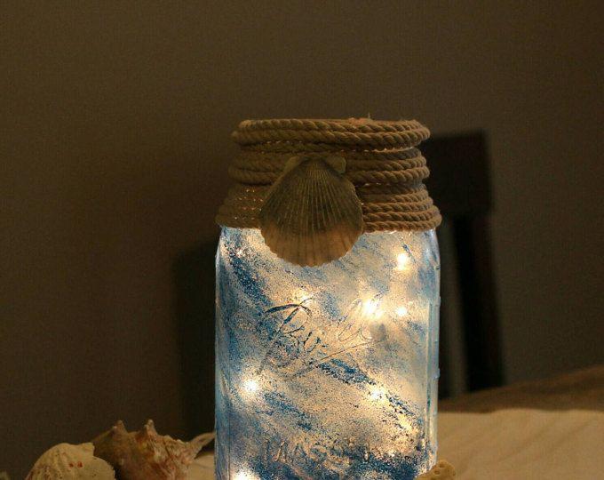 Mason Jar Night Light,Mason Jar Lamp,Beachy Decor,Mason Jar Light, housewarming Gift,Mason Jar Gift