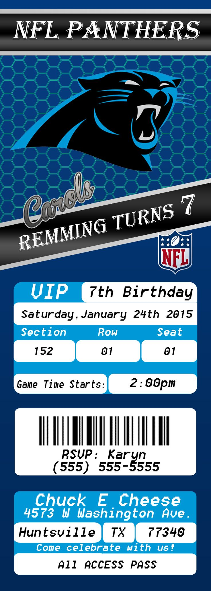 NFL Carolina Panthers Ticket 2 Birthday Invitation