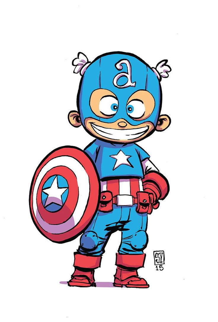 Giant Size Little Marvel #1 - Ant-Size variant cover - Captain America by Skottie Young *