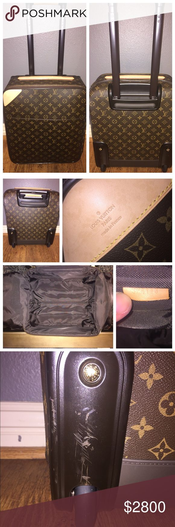 "Louis Vuitton Monogram Canvas Pegase 45 Suitcase Louis Vuitton Monogram Canvas Pegase 45 Rolling Suitcase. 100% Authentic. Authenticity code is pictured (SP4113). In excellent condition, with faint signs of use & some minor scuffing marks along the bottom of the suitcase by the wheels, as seen in pictures I have listed. I used this as my carry on back in my corporate days. Now, I'm a stay at home Mom! Comes with lock & key, protective cover case, and baggage care manual. Measurements: 14""L x…"