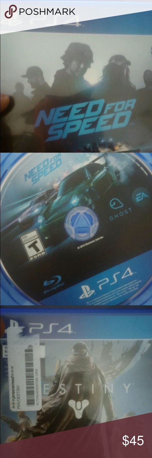 Need for speed and destiny ps4 game Need for speed ps4 game and Destiny . NO SCRATCHES! Like new ! ps4 Other