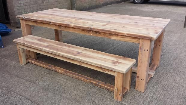Reclaimed pine refectory table and matching bench.