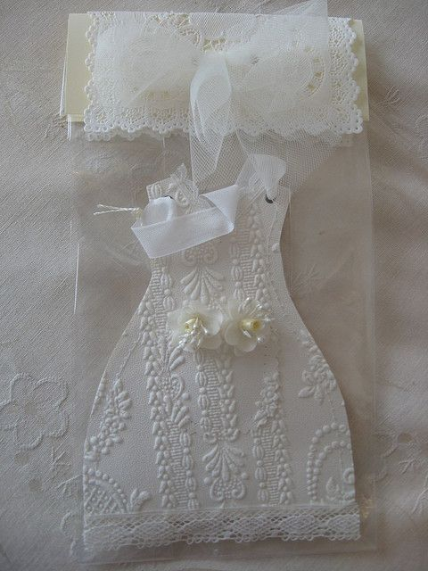 https://flic.kr/p/4PYApg | wedding | Front of wall paper dress , small front pocket with silk floral in the pocket, hangs from silk ribbon. Packaged in a romantic  paper doily and tulle !!