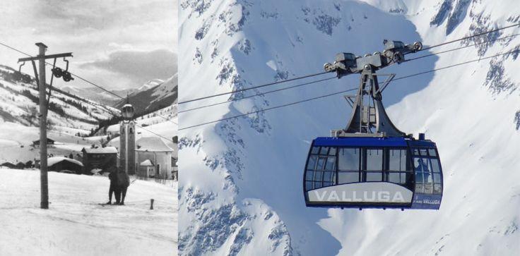 Klein Valluga Lift Zürs damals ©DOPPELMAYR und Vallugabahn I heute ©Arlberger Bergbahnen