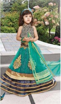 Emerald Color Net Circular Kids Girls Lehenga Cholis | FH467572773