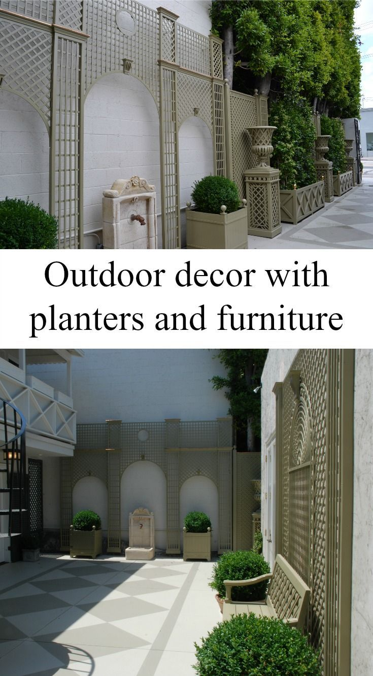 Outdoor Decor By Accents Of France With Garden Planters Vases Lattice Against The Wall And Bench Designs Trellis