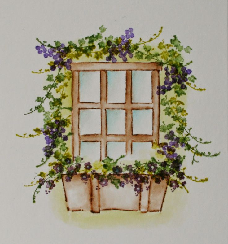 Art Impressions wonderful watercolor.  Handmade water color card with flower window box.