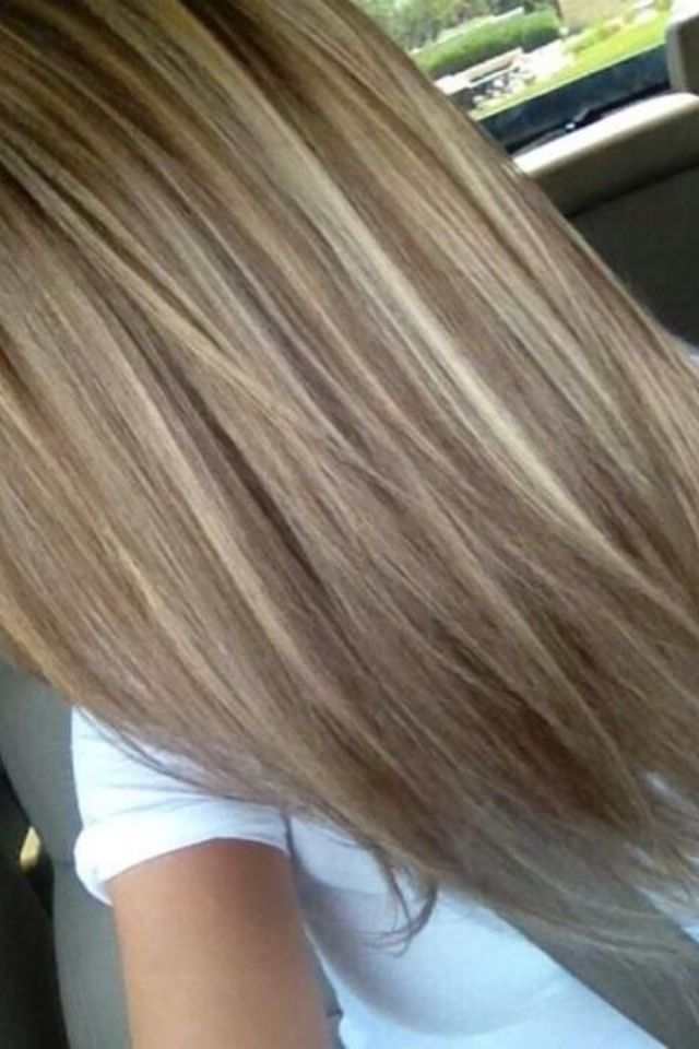 Dark ash blonde with platinum highlights