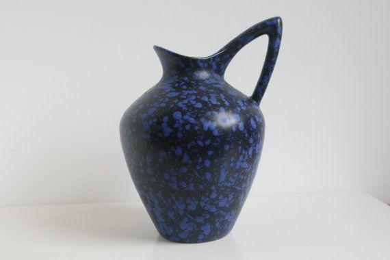 ES Keramik vaas blauw zwart glazuur West-Duitsland aardewerk
