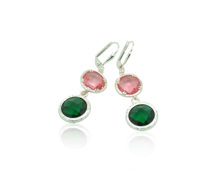 Pink and emerald crystal silver drop earrings, Silver bridal jewellery, Silver jewellery Birthday gifts for her, Emerald leverback earrings by QuaintCharmsJewelry on Etsy