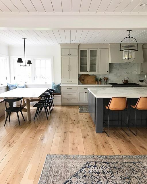Everything about this kitchen is perfect, if you ask me. The stain of the wood floor, the white wood plank ceiling, and the two tone cabinets all work together so well! Source.