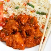 Sweet and Sour Chicken: #Chicken marinated and fried. Combined with sauteed peppers, onions, carrots and cabbage. Served with rice.