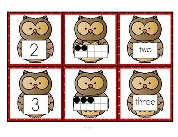 ***I add FREE items often. Follow me to get them as soon as they are listed. This is a set of number cards with an owl theme, 0-10. Three cards for each number - the number, a ten-frame representation, and the number word. Use for recognition, sequence, memory games, hiding and finding games, and of course, matching. 6 pages KidSparkz Teaching Resources