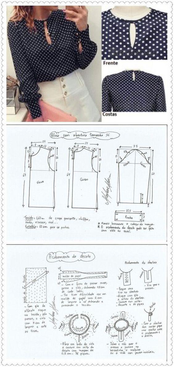 Blusas, top, fashion, patron, patrones, moldes, costura, trend ...