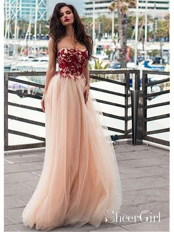 74cb2f8387c5 Cheap strapless tulle formal dresses. Blush prom dress with burgundy lace  applique