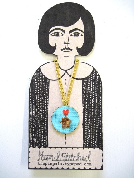 the pin pals: adorable cross stitch pendant
