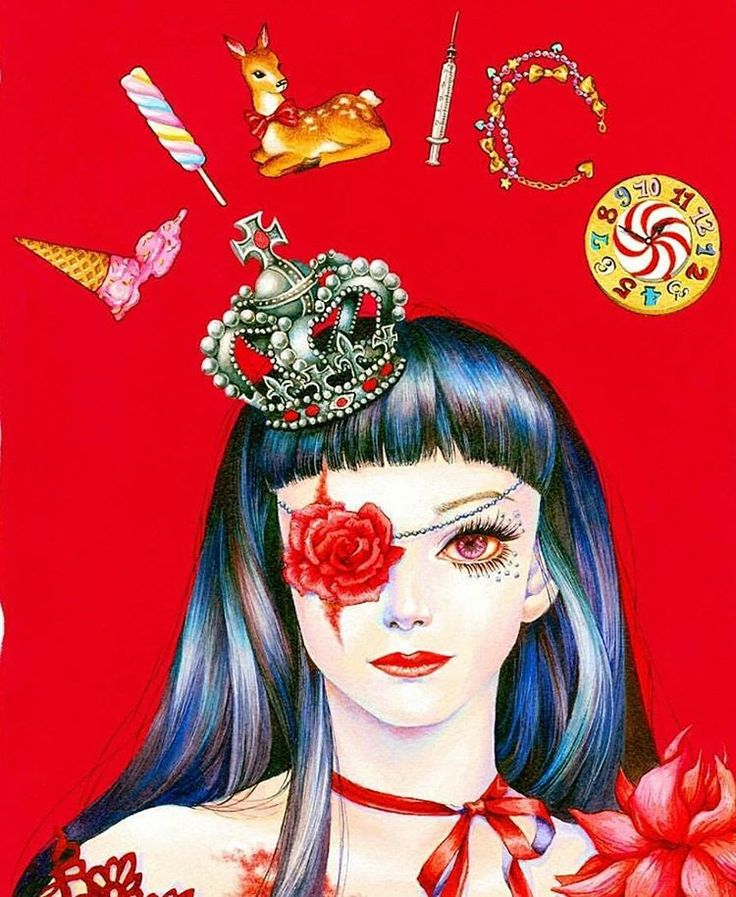@junyoungart achieves such vibrancy in her watercolor paintings. Look at how vivid this little #gothiclolita is! * * * * #egl #gothlolita #candy #syringe #crown #eyepatch #artoftheday #amazingart...