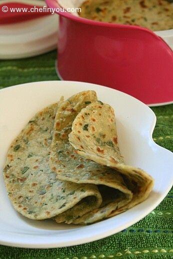 Methi Roti - Indian flatbread with fresh Fenugreek Leaves