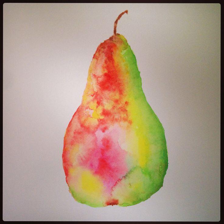 Watercolour pear, by Danielle Triantafillou