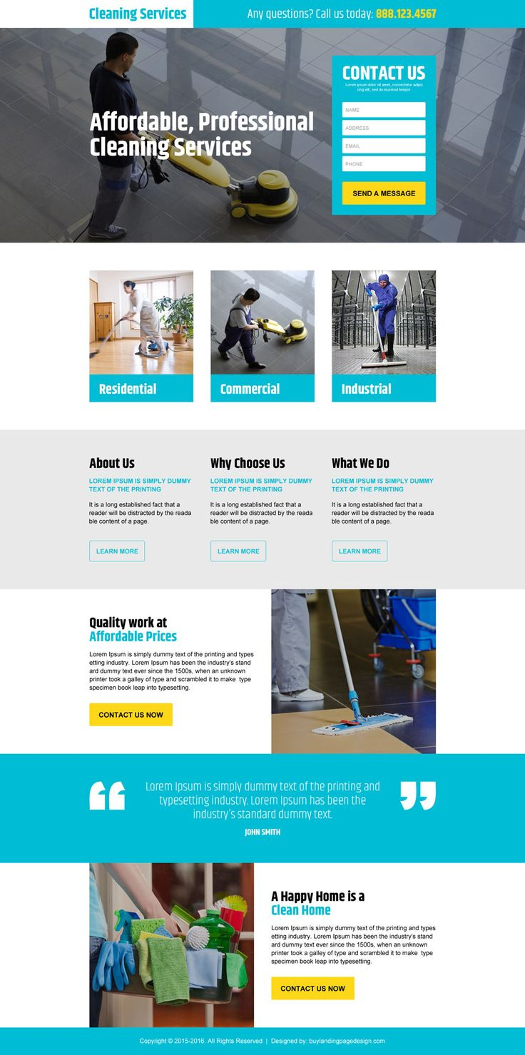 professional cleaning service responsive landing page design
