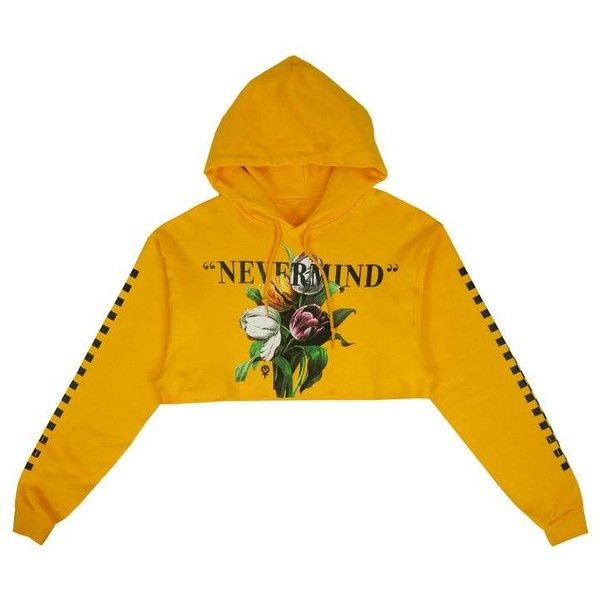 Nevermind Crop Hoodie in Gold ($60) ❤ liked on Polyvore featuring tops, hoodies, cut-out crop tops, hooded sweatshirt, cropped hoodie, cropped hooded sweatshirt and yellow top