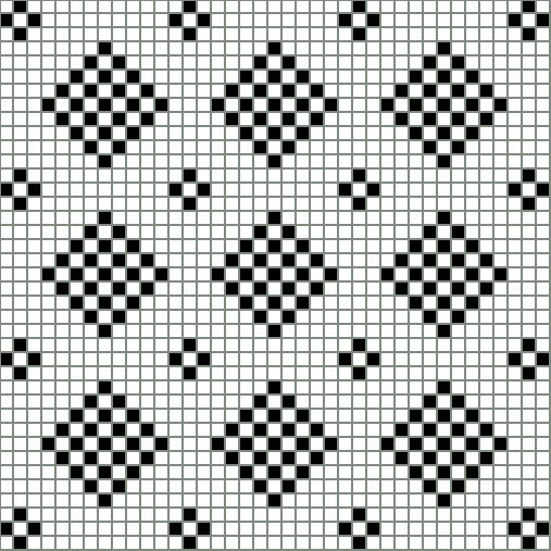 Checkered Diamond Patterns in Filet Crochet: Chart Showing A Bit More Than Three Repeats of the Checkered Diamond Design