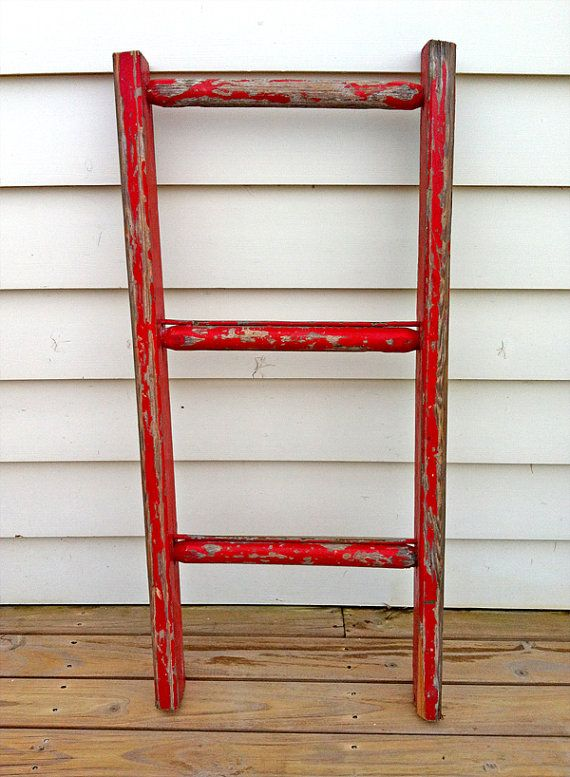 wooden red ladder by RosesUpcycled on Etsy   45 00  buy online at www etsy. 114 best roses upcycled furniture store   items for sale