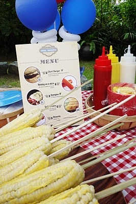 Corn on the cob at county fair party