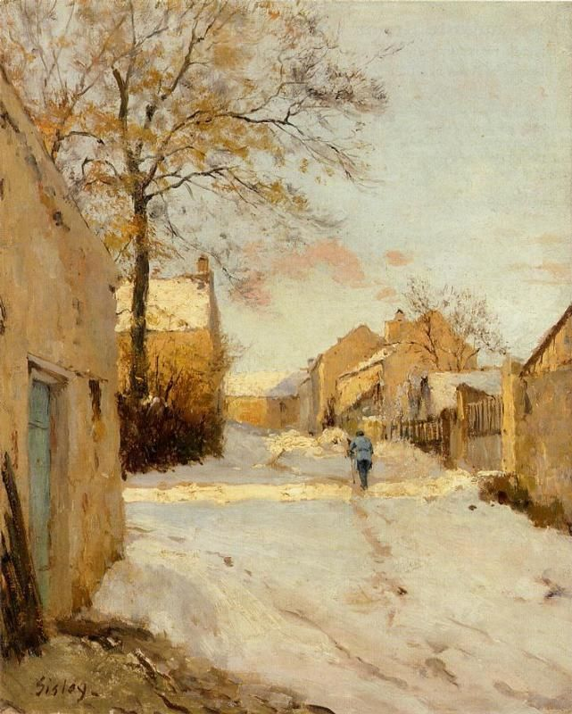 A Village Street in Winter-Alfred Sisley, 1893  WikiPaintings.org - the encyclopedia of painting