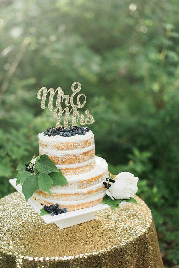 Glitter Mr&Mrs Cake Topper Wedding Cake Topper by CutsOfConfetti