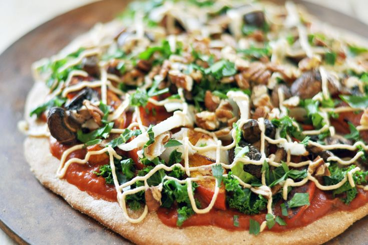 Vegan Harvest Pizza with Cashew Cheese - The Colorful Kitchen